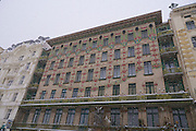 Vienna, Austria. Jugendstil (Art Deco) houses by Otto Wagner at Wienzeile next to the Naschmarkt. On 1/17/2013, 30+ centimeters of snow fell in Vienna, slowing down many aspects of public life.