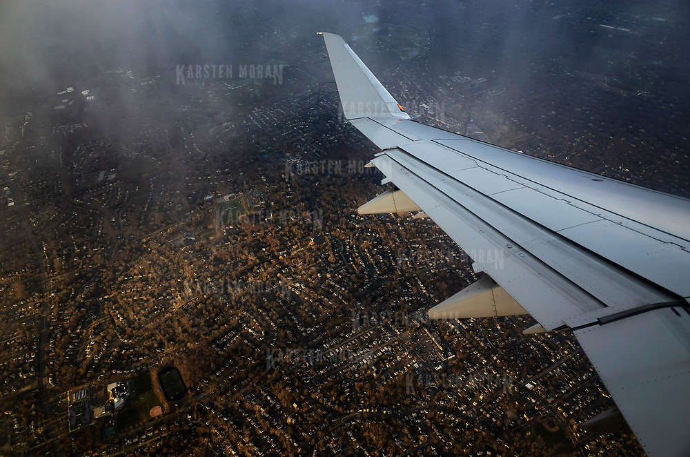April 8, 2018 - Tri-State : Suburban homes in the New York, New Jersey, Connecticut Tri-State area are seen from an airplane on Sunday evening, April 8. CREDIT: Karsten Moran / REDUX