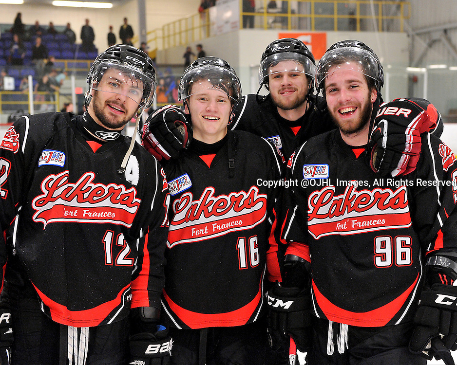122FORT FRANCES, ON - May 1, 2015 : Central Canadian Junior &quot;A&quot; Championship, game action between the Fort Frances Lakers and the Toronto Patriots, semi-final game of the Dudley Hewitt Cup.  Matt Vela #12, Lucas DeBenedet #16, Bowen Alcock #15 and Bryson Jasper #96 of the Fort Frances Lakers celebrate their victory.<br /> (Photo by Clint Bruyere / OJHL Images)