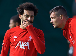 LIVERPOOL, ENGLAND - Monday, September 16, 2019: Liverpool's Mohamed Salah and Dejan Lovren during a training session at Melwood Training Ground ahead of the UEFA Champions League Group E match between SSC Napoli and Liverpool FC. (Pic by Laura Malkin/Propaganda)