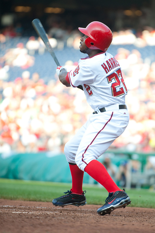 WASHINGTON - JUNE 23: Willie Harris #22 of the Washington Nationals bats against the Kansas City Royals at Nationals Park on June 23, 2010 in Washington, DC. The Royals defeated the Nationals 1-0 (Photo by Rob Tringali) *** Local Caption *** Willie Harris