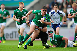 Adam McBurney of Ireland U20 takes on the New Zealand defence - Mandatory byline: Patrick Khachfe/JMP - 07966 386802 - 11/06/2016 - RUGBY UNION - Manchester City Academy Stadium - Manchester, England - New Zealand U20 v Ireland U20 - World Rugby U20 Championship 2016.