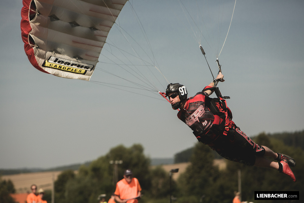 World-record holder Nick Batsch is flying through the gates at a speed run during the Pink Open Canopy Piloting Competition in Klatovy, August 2013