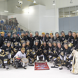 KINGSTON, - Apr 6, 2016 -  Ontario Junior Hockey League game action between Trenton Golden Hawks and Kingston Voyageurs. Game 4 of the North East Championship series.  at the Invista Centre, ON. Trenton Golden Hawks NEC Conference Champions.  (Photo by Ian Dixon / OJHL Images)