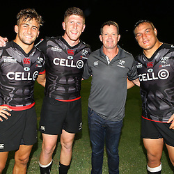 Jeremy Ward of the Cell C Sharks with Jacques Vermeulen of the Cell C Sharks Sean Everitt (Assistant Coach) of the Cell C Sharks and Coenie Oosthuizen of the Cell C Sharks during The Cell C Sharks Pre Season warm up game 2 Cell C Sharks A and Toyota Cheetahs A,at King Zwelithini Stadium, Umlazi, Durban, South Africa. Friday, 3rd February 2017 (Photo by Steve Haag)