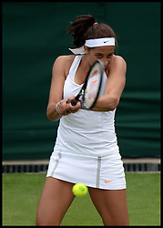 Madison Keys from the USA  beats British Player Heather Watson during the Wimbledon Tennis Championships<br /> Tuesday, 25th June 2013<br /> Picture by Andrew Parsons / i-Images