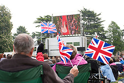 LOCATION, UK  29/04/2011. The Royal Wedding of HRH Prince William to Katherine Middleton. In the pump gardens in Royal Leamington Spa well-wishers fly flags in front of a big screen televising the Royal Occasion. credit should read Sam Spickett/LNP. Please see special instructions. © under license to London News Pictures