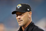 Jacksonville Jaguars head coach Gus Bradley smiles while chatting before the NFL week 14 football game against the Houston Texans on Thursday, Dec. 5, 2013 in Jacksonville, Fla. The Jaguars won the game 27-20. ©Paul Anthony Spinelli