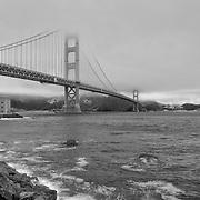 Golden Gate Bridge - Fort Point Shoreline - Black & White