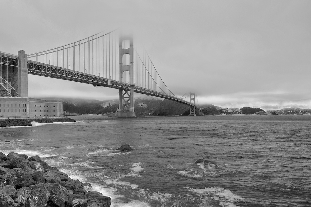 Golden Gate Bridge - Fort Point Shoreline - Black & White