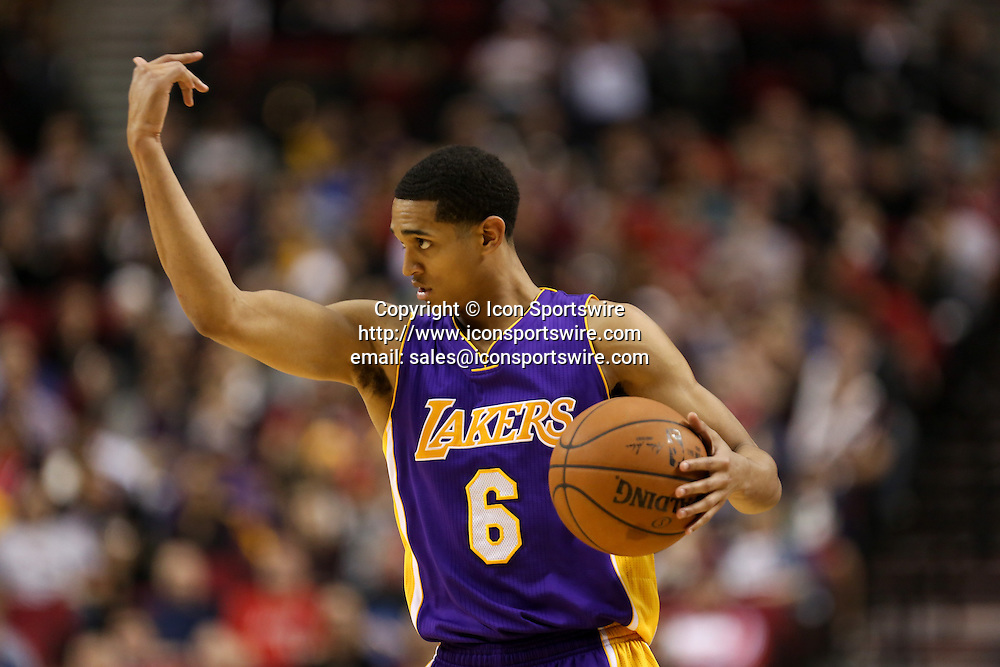 Feb. 11, 2015 - JORDAN CLARKSON (6) tells his teammates where to go. The Portland Trail Blazers play the Los Angeles Lakers at the Moda Center on February 11, 2015