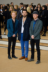 Arrivals for Burberry Prorsum Spring / Summer 2014. <br /> Biffy Clyro arrives for the Burberry Prorsum Spring / Summer 2014 show, London, United Kingdom. Monday, 16th September 2013. Picture by Chris Joseph / i-Images