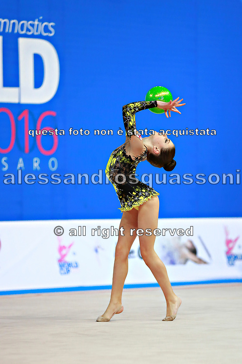 """Arbolishvili Ketevan during ball routine at the International Tournament of rhythmic gymnastics """"Città di Pesaro"""", 02 April, 2016. Ketevan is an Azerbaijan individualistic gymnast, born in Tblisi, 2003.<br /> This tournament dedicated to the youngest athletes is at the same time of the World Cup."""