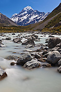 Hooker River in the Hooker Valley, Mount Cook, New Zealand