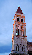 Katedrala Sveti Lovre (Cathedral of Saint Lawrence) tower in late afternoon sunshine, Trogir, Croatia