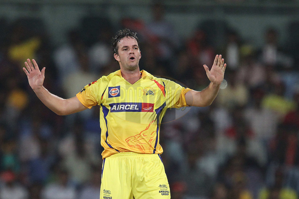 Albie Morkel reacts after bowling during match 41 of the the Indian Premier League ( IPL) 2012  between The Chennai Superkings and the Kolkata Knight Riders held at the M. A. Chidambaram Stadium, Chennai on the 30th April 2012..Photo by Ron Gaunt/IPL/SPORTZPICS