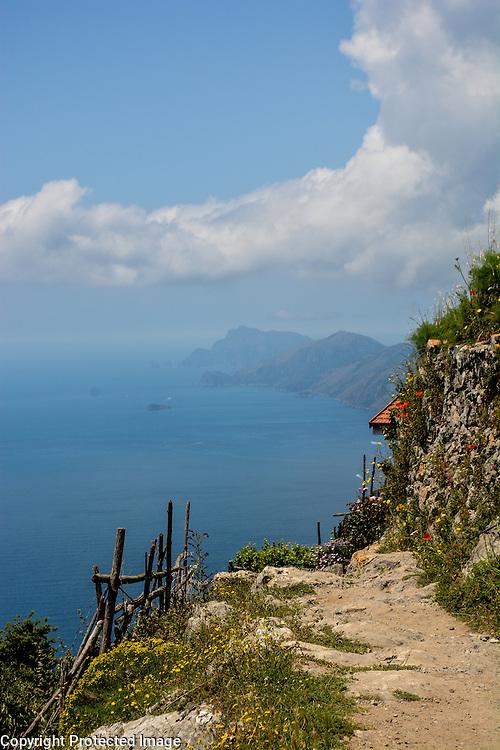 The hiking trail Sentiero Degli Dei (Walk of the Gods), along the stunning Amalfi Coast