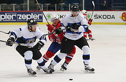 22.04.2016, Dom Sportova, Zagreb, CRO, IIHF WM, Kroatien vs Estland, Division I, Gruppe B, im Bild OSSIPOV Aleksandr, PERKOVICH Nathan, TITARENKO Vassili // during the 2016 IIHF Ice Hockey World Championship, Division I, Group B, match between Croatia and Estonia at the Dom Sportova in Zagreb, Croatia on 2016/04/22. EXPA Pictures © 2016, PhotoCredit: EXPA/ Pixsell/ Dalibor Urukalovic<br /> <br /> *****ATTENTION - for AUT, SLO, SUI, SWE, ITA, FRA only*****