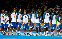Players of France at medal ceremony after the final basketball game between National basketball teams of Spain and France at FIBA Europe Eurobasket Lithuania 2011, on September 18, 2011, in Arena Zalgirio, Kaunas, Lithuania. Spain defeated France 98-85 and became European Champion 2011, France placed second and Russia third. (Photo by Vid Ponikvar / Sportida)