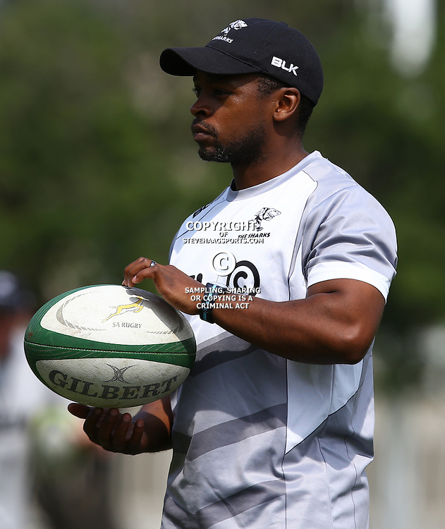 DURBAN, SOUTH AFRICA, 8 September, 2016 -Thulani Nteta (fitness Coach) during The Cell C Sharks training session at Growthpoint Kings Park in Durban, South Africa. (Photo by Steve Haag)<br /> <br /> images for social media must have consent from Steve Haag