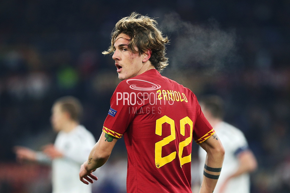 Nicolo' Zaniolo of Roma reacts during the UEFA Europa League, Group J football match between AS Roma and Wolfsberg AC on December 12, 2019 at Stadio Olimpico in Rome, Italy - Photo Federico Proietti / ProSportsImages / DPPI