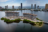 Aerial view of Privé Island looking towards Sunny Isles.