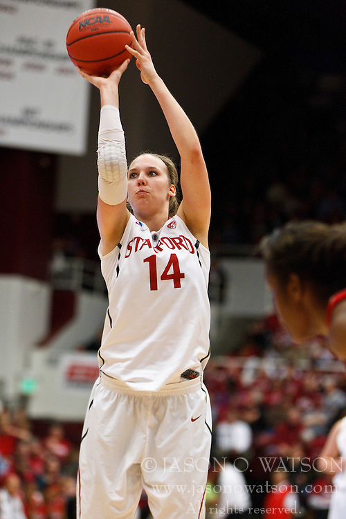 March 21, 2011; Stanford, CA, USA; Stanford Cardinal forward Kayla Pedersen (14) shoots a free throw against the St. John's Red Storm during the second half of the second round of the 2011 NCAA women's basketball tournament at Maples Pavilion. Stanford defeated St. John's 75-49.