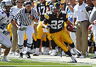 September 4 2010: Iowa Hawkeyes wide receiver Colin Sandeman (22) tries to cut back after a reception during the second quarter of the NCAA football game between the Eastern Illinois Panthers and the Iowa Hawkeyes at Kinnick Stadium in Iowa City, Iowa on Saturday September 4, 2010. Iowa defeated Eastern Illinois 37-7.