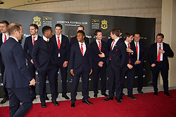 LIVERPOOL, ENGLAND - Tuesday, May 6, 2014: Liverpool players including Daniel Sturridge and Raheem Sterling arrive on the red carpet for the Liverpool FC Players' Awards Dinner 2014 at the Liverpool Arena. (Pic by David Rawcliffe/Propaganda)