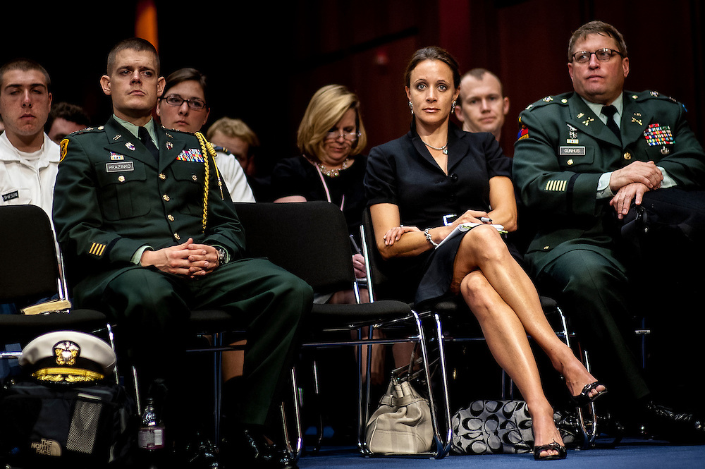 PAULA BROADWELL, 40, sits in the audience as General David Petraeus appeared before the Senate (Select) Intelligence Committee during a hearing on his nomination to be director of the Central Intelligence Agency on June 23, 2011.  Broadwell was recently identified as the woman that Gen. Petraeus had an affair with resulting in his resignation as Director of the CIA.