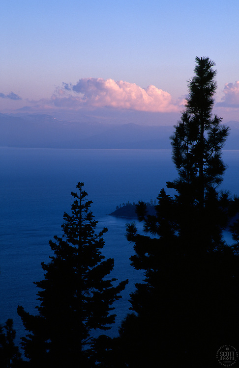 &quot;Stateline Point, Lake Tahoe&quot;- This sunset was photographed from Incline Village, NV, facing southwest.<br /> Photographed: May 2003