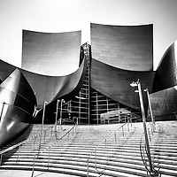 Walt Disney Concert Hall black and white photo. Located in Los Angeles, California, The Walt Disney Concert Hall opened in 2003 as a music and performance venue and hosts the Los Angeles Philharmonic Orchestra. The building has unique stainless steel architecture. Photo is high resolution and was taken in 2012.