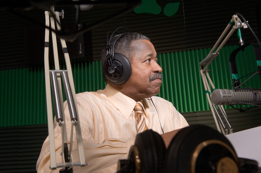 18044Dr. McDavis at WOUB Recording Radio Spots