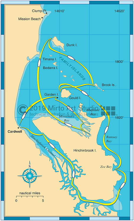 Vector map of Cardwell, Australia