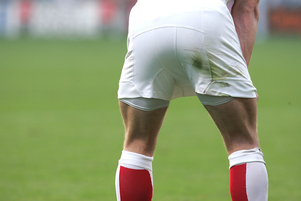 A detailed view of grass stains on the shorts of an England player. England v USA, Rugby World Cup 2007, Lens, France, 8th September 2007.