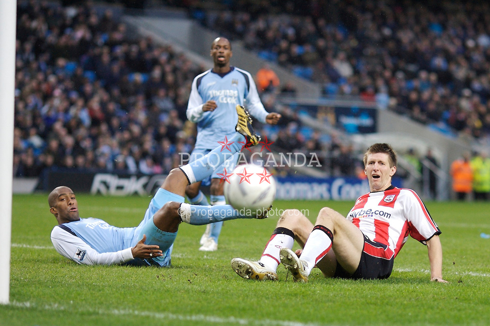 Manchester, England - Sunday, January 28, 2007: Southampton's Grzegorz Rasiak sees his shot go wide during the FA Cup 5th Round match at the City of Manchester Stadium. (Pic by David Rawcliffe/Propaganda)