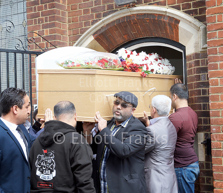 Ali Jafari's funeral prayers  <br /> Mr Ali Jafari, aged 82,  died following the fire at Grenfell Tower,<br /> 14th July 2017 <br /> <br /> Prayers at the Hussaini Islamic Mission, Thornbury Road, Isleworth, <br /> <br /> The cortege departing  from the Hussaina Islamic Mission <br /> <br /> Mr Jafari's three sons were present at the funeral <br /> <br /> Bashir Jafari <br /> <br /> Hamid Jafari <br /> <br /> Farid Jafari <br /> <br /> <br /> Photograph by Elliott Franks <br /> Image licensed to Elliott Franks Photography Services