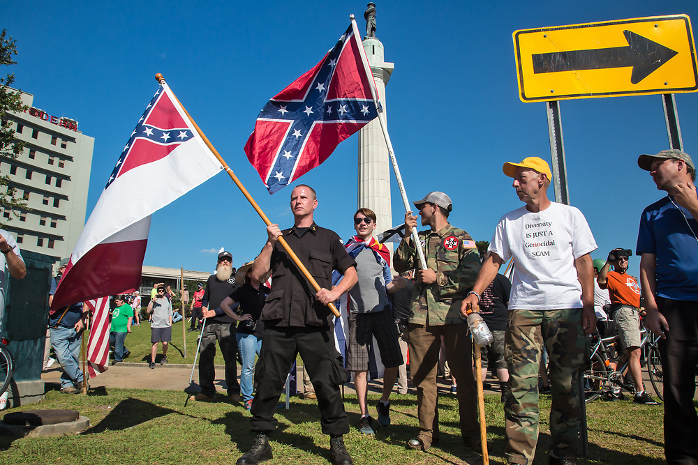Pro confederate monument supporters from out of state take part in a counter proteset at Lee's Circle where Take Em Down NOLA led a Second Line to celebrating the removal of Confederate monuments in the ctiy.