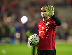BRUSSELS, BELGIUM - Tuesday, October 15, 2013: Wales' goalkeeper Boaz Myhill warms-up before the 2014 FIFA World Cup Brazil Qualifying Group A match against Belgium at the Koning Boudewijnstadion. (Pic by David Rawcliffe/Propaganda)