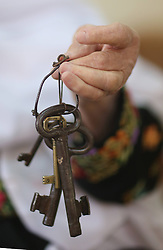 59645962  .Abu Hafez, a 68-year-old Palestinian, holds the keys of the former house displaced since 1948, in Al-Jalazoun Refugee camp near Ramallah in the West Bank on May 14, 2013. Palestinians are preparing for Nakba Day on May 15, marking thousands of Palestinians that were forced to leave their homes during the Arab-Israeli war in 1948, May 14, 2013. Photo by: imago / i-Images. UK ONLY