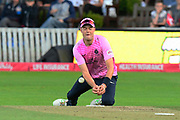 Tom Helm of Middlesex drops the catch from Tom Banton of Somerset during the Vitality T20 Blast South Group match between Somerset County Cricket Club and Middlesex County Cricket Club at the Cooper Associates County Ground, Taunton, United Kingdom on 30 August 2019.