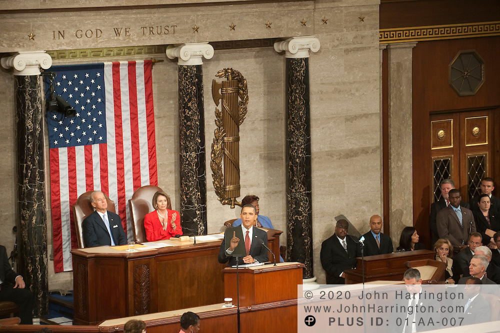 President Obama delivers an address to a joint session of Congress to promote his health care reform agenda, Wednesday, September 9, 2009 at the US Capitol.
