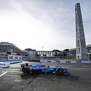 Roma 14/04/2018 <br /> ABB FIA Formula E Championship<br /> Gran Premio di Roma <br /> un passaggio davanti all'obelisco di piazza Guglielmo Marconi<br /> Sebastien Buemi su Renault E.Dams