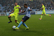 Coventry City forward Jacob Murphy on loan from Norwich City crosses the ball ahead of Southend United defender John White during the Sky Bet League 1 match between Coventry City and Southend United at the Ricoh Arena, Coventry, England on 31 August 2015. Photo by Simon Davies.
