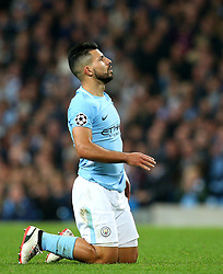 Sergio Aguero of Manchester City looks dejected - Mandatory by-line: Matt McNulty/JMP - 26/09/2017 - FOOTBALL - Etihad Stadium - Manchester, England - Manchester City v Shakhtar Donetsk - UEFA Champions League Group stage - Group F