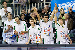 Vladimir Golubovic (21) of Olimpija, Nemanja Aleksandrov (12) of Olimpija, Milorad Sutulovic (5) of Olimpija, Edin Bavcic (9) of Olimpija and Jaka Klobucar (8) of Olimpija at Euroleague basketball match of Group C between KK Union Olimpija, Ljubljana and Maroussi B.C., Athens, on October 29, 2009, in Arena Tivoli, Ljubljana, Slovenia. Olimpija lost 75:81.  (Photo by Vid Ponikvar / Sportida)