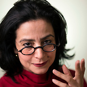 March 4, 2014 - New York, NY : <br /> Sabiha Al Khemir, a writer and curator of Islamic Art, poses for a portrait in her apartment in Manhattan on Tuesday morning, March 4. <br /> CREDIT: Karsten Moran for The New York Times