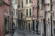 Charming village buildings and alley, Porto Venere, Liguria, Italy.