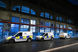© Licensed to London News Pictures . FILE PICTURE DATED 01/01/2019 of forensic scenes of crime parked outside of Victoria Station in Manchester as Mahdi Mohamud is due to appear at Manchester Crown Court today (Tuesday 26 November 2019) charged  with 3 counts of attempted murder and 1 count contrary to Section 58 (1) (a), TACT 2000 which relates to the possession of a document or record likely to be useful to a person committing or preparing an act of terrorism . On the evening of 31st December 2018 , as thousands headed in to Manchester City Centre to watch New Years Day fireworks , three people including a British Transport Police Officer were stabbed and a man was tasered on a Metrolink platform of Victoria Train Station in Manchester . Photo credit : Joel Goodman/LNP