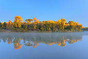 Forest in autumn colors reflected in the Red River at sunrise. St. Vital Park<br />